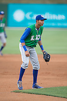 Lexington Legends third baseman Wander Franco (8) on defense against the Kannapolis Intimidators at CMC-Northeast Stadium on May 26, 2015 in Kannapolis, North Carolina.  The Intimidators defeated the Legends 4-1.  (Brian Westerholt/Four Seam Images)