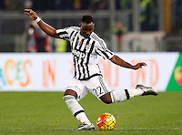 Calcio, Serie A: Lazio vs Juventus. Roma, stadio Olimpico, 4 dicembre 2015.<br /> Juventus&rsquo; Kwadwo Asamoah kicks the ball during the Italian Serie A football match between Lazio and Juventus at Rome's Olympic stadium, 4 December 2015.<br /> UPDATE IMAGES PRESS/Riccardo De Luca