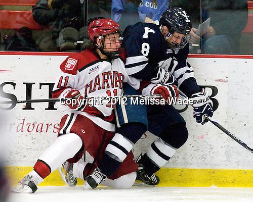 Kyle Criscuolo (Harvard - 11), Josh Balch (Yale - 8) - The Yale University Bulldogs defeated the Harvard University Crimson 5-1 on Saturday, November 3, 2012, at Bright Hockey Center in Boston, Massachusetts.