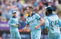 Chris Woakes (England) celebrates the wicket of David Warner during Australia vs England, ICC World Cup Semi-Final Cricket at Edgbaston Stadium on 11th July 2019