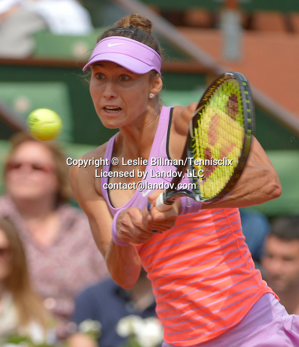Vitalia Diatchenko (RUS) loses to Maria Sharapova (RUS) 6-3, 6-1 at  Roland Garros being played at Stade Roland Garros in Paris, France on May 27, 2015