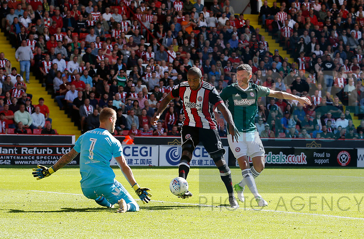 Leon Clarke of Sheffield Utd scores only for the goal to be disallowed during the English Championship League match at Bramall Lane Stadium, Sheffield. Picture date: August 5th 2017. Pic credit should read: Simon Bellis/Sportimage
