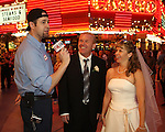 Charo and Tony Sacca on Fremont Street for the closing segment of their television segment on PBS