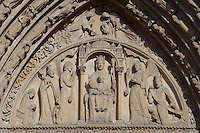 Virgin with Child seated under a canopy and on a throne, bearing a crown and a sceptre, holding her son who holds the Book of the Law on her lap, Portal of Saint Anne, circa 1200, West façade, Notre Dame de Paris, 1163 ? 1345, initiated by the bishop Maurice de Sully, Ile de la Cité, Paris, France. Picture by Manuel Cohen