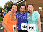 Annamarie Redmond, Claire Byrne and Trish Campbell who took part in the Meath Coast 10K run. Photo:Colin Bell/pressphotos.ie