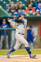 South Bend Cubs second baseman Andrew Ely (8) follows through on his swing against the Lansing Lugnuts on May 12, 2016 at Cooley Law School Stadium in Lansing, Michigan. Lansing defeated South Bend 5-0. (Andrew Woolley/Four Seam Images)