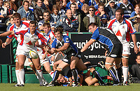 20,05/06 Powergen Cup Bath Rugby vs Bristol Rugby, Martyn Woods clears the ball from the back of the scrum. Bath, ENGLAND, 01.10.2005   © Peter Spurrier/Intersport Images - email images@intersport-images..