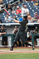 Vanderbilt Commodores outfielder JJ Bleday (51) swings the bat during Game 8 of the NCAA College World Series against the Mississippi State Bulldogs on June 19, 2019 at TD Ameritrade Park in Omaha, Nebraska. Vanderbilt defeated Mississippi State 6-3. (Andrew Woolley/Four Seam Images)