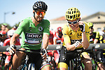 Green Jersey Peter Sagan (SVK) Bora-Hansgrohe and race leader Geraint Thomas (WAL) Team Sky Yellow Jersey before the start of Stage 16 of the 2018 Tour de France running 218km from Carcassonne to Bagneres-de-Luchon, France. 24th July 2018. <br /> Picture: ASO/Pauline Ballet | Cyclefile<br /> All photos usage must carry mandatory copyright credit (© Cyclefile | ASO/Pauline Ballet)