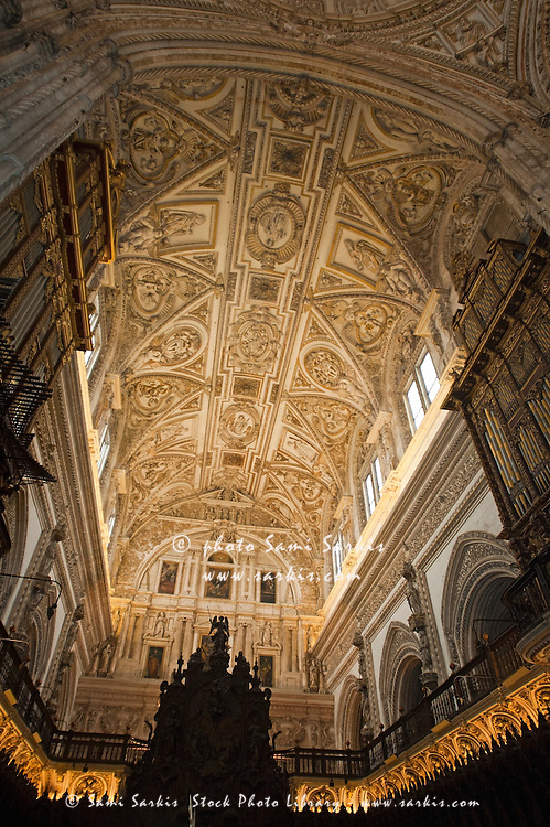 Ornate ceiling and church organs inside the Catedral de Cordoba, a former medieval mosque, Cordoba, Andalusia, Spain.