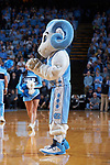North Carolina Tar Heels mascot Ramses prior to the start of the ACC men's basketball game against the Wake Forest Demon Deacons at the Dean Smith Center on December 30, 2017 in Chapel Hill, North Carolina.  The Tar Heels defeated the Demon Deacons 73-69.  (Brian Westerholt/Sports On Film)