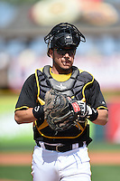 Pittsburgh Pirates catcher Sebastian Valle (74) during a Spring Training game against the Boston Red Sox on March 12, 2015 at McKechnie Field in Bradenton, Florida.  Boston defeated Pittsburgh 5-1.  (Mike Janes/Four Seam Images)