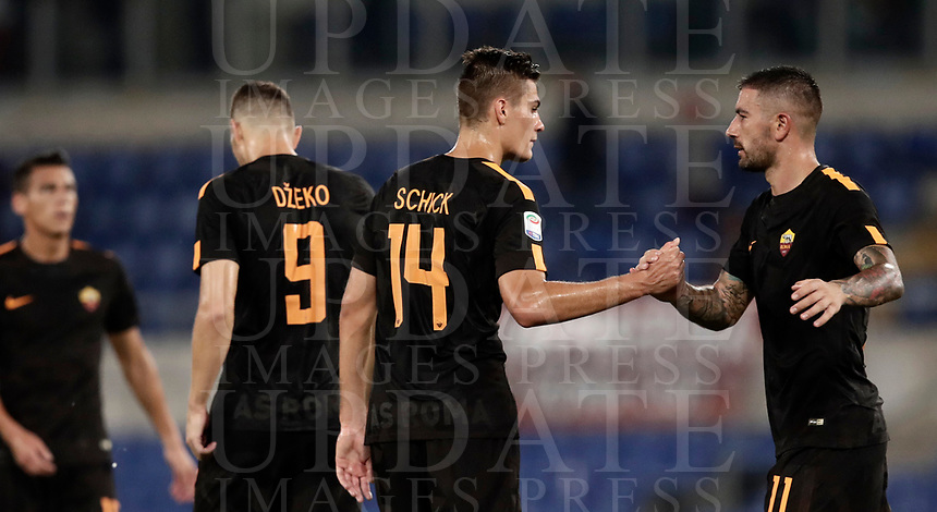 Calcio, Serie A: Roma, stadio Olimpico, 16 settembre 2017.<br /> Roma's Patrik Schick (l) and Aleksandar Kolarov (r) celebrate after winning 3-0 the Italian Serie A football match between AS Roma and Hellas Verona at Rome's Olympic stadium, September 16, 2017.<br /> UPDATE IMAGES PRESS/Isabella Bonotto