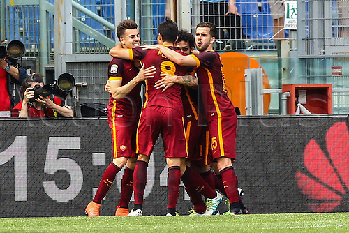 03.04.2016. Stadium Olimpico, Rome, Italy.  Serie A football league. Derby Match SS Lazio versus AS Roma. Celebration after the goal from El Shaarawy for 0-1