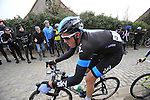 Mathew Hayman (SKY Procycling) at the top of the cobbled climb of Paterberg during the 56th edition of the E3 Harelbeke, Belgium, 22nd  March 2013 (Photo by Eoin Clarke 2013)