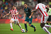30th September, bet365 Stadium, Stoke-on-Trent, England; EPL Premier League football, Stoke City versus Southampton; Southampton's Dusan Tadic comes under pressure from Stoke City's Joe Allen