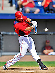 12 March 2012: Washington Nationals infielder Tyler Moore smacks a single in the bottom of the 8th inning during a Spring Training game against the St. Louis Cardinals at Space Coast Stadium in Viera, Florida. The Nationals defeated the Cardinals 8-4 in Grapefruit League play. Mandatory Credit: Ed Wolfstein Photo