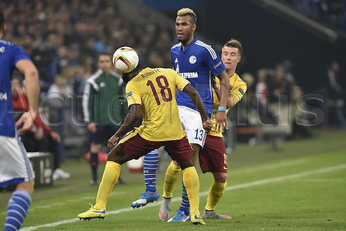 22.10.2015. Gelsenkirchen, Germany. UEFA Europa League football. FC Schalke versus Sparta Prague.  Tiemoko Konate Sparta Prague in duel against Eric Maxim Choupo Moting Schalke rear Lukas Marecek Sparta Prague