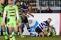 Ross Batty of Bath Rugby looks on after scoring a try in the second half. Aviva Premiership match, between Bath Rugby and Northampton Saints on February 9, 2018 at the Recreation Ground in Bath, England. Photo by: Patrick Khachfe / Onside Images