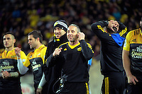 The Hurricanes bench reacts during the Super Rugby semifinal match between the Hurricanes and Chiefs at Westpac Stadium, Wellington, New Zealand on Saturday, 30 July 2016. Photo: Dave Lintott / lintottphoto.co.nz