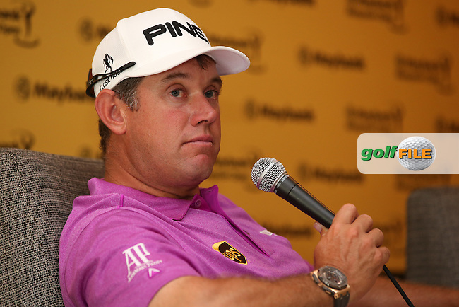 On the question of Nottingham Forest Lee Westwood (ENG) stated he was puzzled why the new manager Stuart Pearce could not start this season during the preview days of the 2014 Maybank Malaysian Open at the Kuala Lumpur Golf & Country Club, Kuala Lumpur, Malaysia. Picture:  David Lloyd / www.golffile.ie
