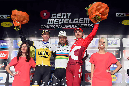 27.03.2016. Deinze, Belgium.  winner SAGAN Peter (SVK) Rider of TINKOFF, second VANMARCKE Sep (BEL) Rider of TEAM LOTTO NL - JUMBO and third KUZNETSOV Viacheslav (RUS) Rider of TEAM KATUSHA pictured during the podium ceremony of the Flanders Classics UCI World Tour 78nd Gent-Wevelgem cycling race with start in Deinze and finish in Wevelgem