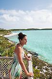 EXUMA, Bahamas. Nicole on a balcony of one of the villas at the Fowl Cay Resort.