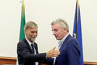 Roma, 17 Agosto 2016<br />  Il Ministro delle Infrastrutture e dei Trasporti Graziano Delrio insieme al Presidente Enac e Michael O' Leary, Chief Executive di Ryanair hanno incontrato la stampa per illustrare il piano di sviluppo 2017 di Ryanair in Italia, a seguito delle politiche di attrazione degli investimenti del Governo.
