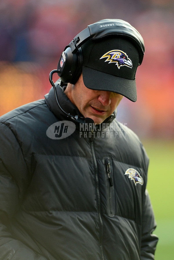 Jan 12, 2013; Denver, CO, USA; Baltimore Ravens head coach John Harbaugh reacts in the first half against the Denver Broncos during the AFC divisional round playoff game at Sports Authority Field.  Mandatory Credit: Mark J. Rebilas-