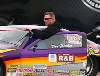Feb 9, 2014; Pomona, CA, USA; NHRA competition eliminator driver Dan Fletcher during the Winternationals at Auto Club Raceway at Pomona. Mandatory Credit: Mark J. Rebilas-