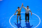 12 MAR 2011: Seth Ecker of Ithaca celebrates his victory over Mike McInally of Rochester in the 133 lbs championship during the Division III Men's Wrestling Championship held at the La Crosse Center in La Crosse Wisconsin. Ecker defeated McInally 6-2 to claim the national title. Stephen Nowland/NCAA Photos