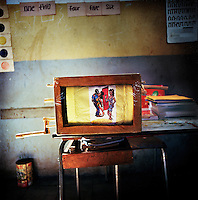 A Grade 7 classroom in Gudoberet school. A pretend television set made by a teacher as an HIV and AIDS education resource...