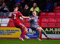 Lincoln City's Anthony Scully vies for possession with Accrington Stanley's Callum Johnson<br /> <br /> Photographer Andrew Vaughan/CameraSport<br /> <br /> The EFL Sky Bet League One - Accrington Stanley v Lincoln City - Saturday 15th February 2020 - Crown Ground - Accrington<br /> <br /> World Copyright © 2020 CameraSport. All rights reserved. 43 Linden Ave. Countesthorpe. Leicester. England. LE8 5PG - Tel: +44 (0) 116 277 4147 - admin@camerasport.com - www.camerasport.com