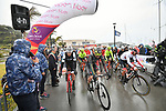 A wet start for Stage 2 of Il Giro di Sicilia running 236km from Capo d'Orlando to Palermo, Italy. 4th April 2019.<br /> Picture: LaPresse/Massimo Paolone | Cyclefile<br /> <br /> <br /> All photos usage must carry mandatory copyright credit (© Cyclefile | LaPresse/Massimo Paolone)