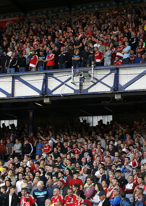 Middlesbrough fans applaud in high spirits in spite of the scoreline<br /> <br /> Photographer Rich Linley/CameraSport<br /> <br /> The Premier League - Everton v Middlesbrough - Saturday 17th September 2016 - Goodison Park - Liverpool<br /> <br /> World Copyright &copy; 2016 CameraSport. All rights reserved. 43 Linden Ave. Countesthorpe. Leicester. England. LE8 5PG - Tel: +44 (0) 116 277 4147 - admin@camerasport.com - www.camerasport.com
