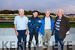 Moss O'Connell (Castleisland),  Moss Leane (Scartaglin), Martin Galvin (Lixnaw) and Paddy Collins (Ballylongford) enjoying the action at the Kingdom Greyhound Track on Friday night.