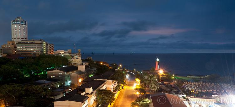 Twilight at Galbokka (Galle Buck) Lighthouse & Colombo skyline -Sri Lanka