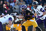 MANKATO, MN - NOVEMBER 1:  Nick Pieruccini #6 from Minnesota State Mankato looks for room between Cameron Ostrom #32 and Carter Ahlers #48 for the University of Sioux Falls in the second quarter Saturday afternoon at Blakeslee Stadium in Mankato. (Photo by Dave Eggen/Inertia)