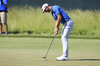 Dustin Johnson (USA) takes his putt on the 6th green during Friday's Round 2 of the 117th U.S. Open Championship 2017 held at Erin Hills, Erin, Wisconsin, USA. 16th June 2017.<br /> Picture: Eoin Clarke | Golffile<br /> <br /> <br /> All photos usage must carry mandatory copyright credit (&copy; Golffile | Eoin Clarke)