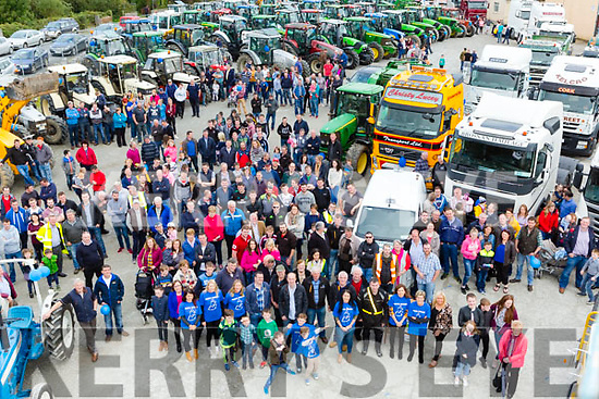 The large crowd at the start of the Eamon Carey Memorial Tractor run in Castleisland Mart at the Eamon Carey Memorial Truck and Tractor run in aid of Pieta House in Castleisland on Sunday