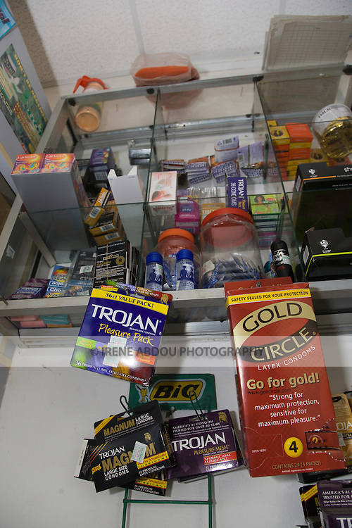 Gold Circle and Trojan condoms are prominently displayed for sale at a pharmacy in the Garki area of Abuja, Nigeria.  Gold Circle is social marketed by the Society for Family Health, Nigeria's largest indigenous NGO and affiliate of the international NGO, Population Services International.
