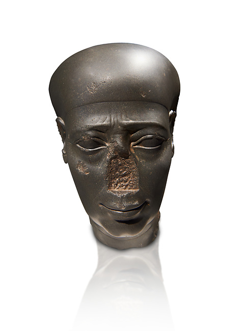 Ancient Egyptian Greywacke statue head . 27 th Dynasty 500 BC . Neues Museum Berlin Cat No: AM 31196.