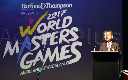 April 30th 2017, Auckland, New Zealand; Closing Ceremony of the World Masters Games; WMG 2021 Kansai Chairman, Shosuke More, speaks  during the closing ceremony of the World Masters Games 2017 held at The Cloud on Auckland's waterfront