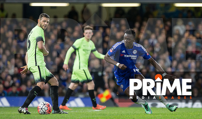 Bertrand Traore of Chelsea in action during the FA Cup 5th round match between Chelsea and Manchester City at Stamford Bridge, London, England on 21 February 2016. Photo by Andy Rowland.