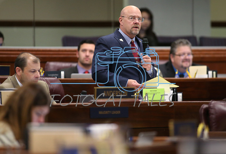 Nevada Assemblyman Ira Hansen, R-Sparks, speaks on the Assembly floor at the Legislative Building in Carson City, Nev., on Thursday, April 16, 2015.<br /> Photo by Cathleen Allison