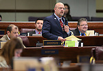 Nevada Assemblyman Ira Hansen, R-Sparks, speaks on the Assembly floor at the Legislative Building in Carson City, Nev., on Thursday, April 16, 2015.<br /> Photo by Cathleen Allison