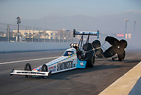 Feb 8, 2020; Pomona, CA, USA; NHRA top fuel driver Justin Ashley during qualifying for the Winternationals at Auto Club Raceway at Pomona. Mandatory Credit: Mark J. Rebilas-USA TODAY Sports