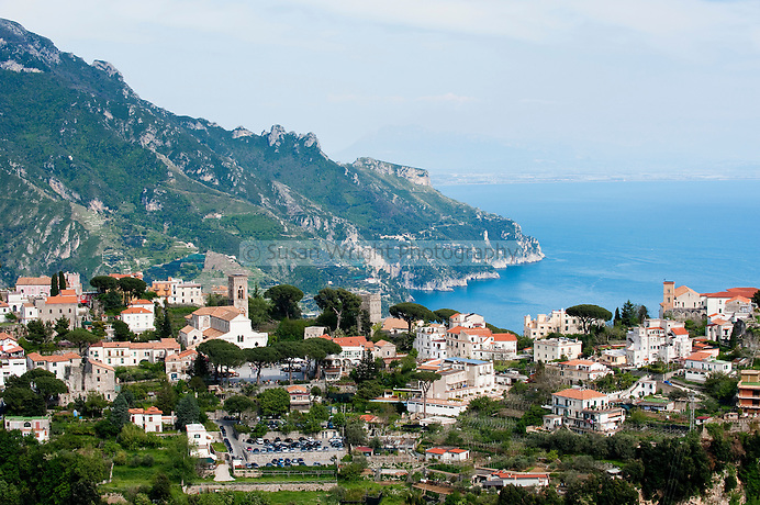 Ravello and view of the coastline towards Salerno, Amalfi Coast, Italy