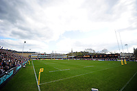 A general view of the Recreation Ground pitch during the match. Aviva Premiership match, between Bath Rugby and Sale Sharks on April 23, 2016 at the Recreation Ground in Bath, England. Photo by: Patrick Khachfe / Onside Images
