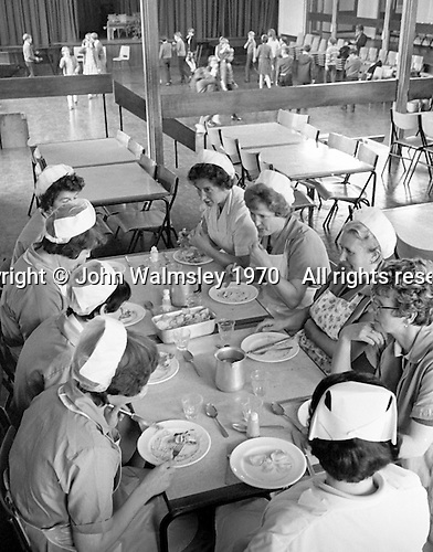 Catering staff have their lunch, Whitworth Comprehensive School, Whitworth, Lancashire.  1970.